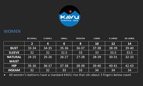 Kavu Size Chart Womens Sport Clothing Kavu Fit Guide Outdoor Mountain