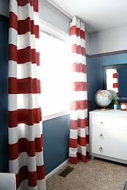 navy walls with red stripe curtains