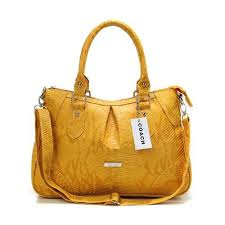 Coach Madison Embossed Medium Yellow Satchels DEM