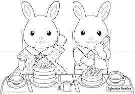 Sylvanian Families Coloring Pages Bunnies Eating Delicious Cakes