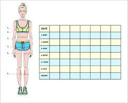 Measurement Chart Body Measurement Chart Of The Body Parameters For Sport And Diet Effect