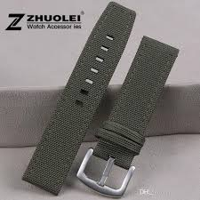 nylon genuine leather watch strap for mens 22mm army green perlon watch strap watchband waterproof nylon wide leather watch band debeers watch bands from
