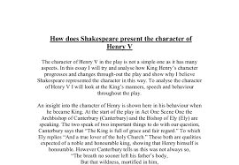 how does shakespeare present the character of henry v a level  document image preview