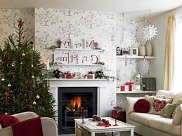 Living Room Christmas Decoration Christmas Living Room Decor Beige Fireplace Hang White Socks