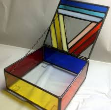 Stained Glass Jewelry Box Designs Stained Glass Jewelry Box Colorful Geometric By