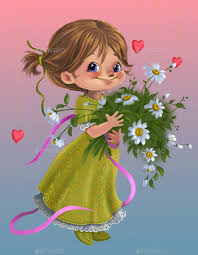 Image result for pictures of cute characters giving out flowers