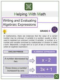 writing and evaluating algebraic
