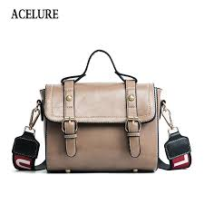 acelure vintage women messenger bags sac a main pu leather shoulder bags wide shoulder straps las designer cross leather goods purses for from