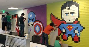 worker uses 8 024 post it notes to turn boring office walls into superhero murals bored panda