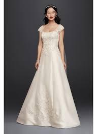satin cap sleeve wedding dress david s bridal
