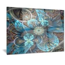 designart x27 fractal blue flowers x27 digital art floral metal wall on turquoise and brown metal wall art with designart fractal blue flowers digital art floral metal wall art