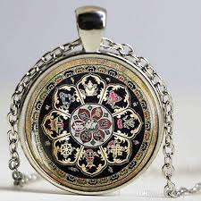 whole tibetan buddhist mandala necklace sacred geometry jewelry necklace spiritual accessory black men mandala pendant mens pendants for necklaces