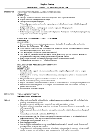 Construction Field Engineer Sample Resume Engineer Construction Resume Samples Velvet Jobs 13