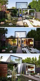 a modern wood walkway leads straight through the home and into the backyard
