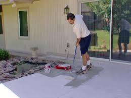 stained concrete patio. Apply Concrete Stain With Brush And Dry 24 Hours Stained Patio