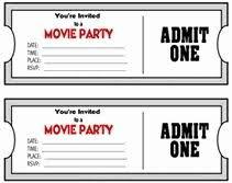 Movie Night Invitation Templates Movie Night Invitation Template Awesome Blank Printable Admit E