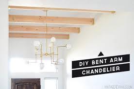 diy brass bent arm chandelier tutorial