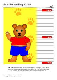 Teddy Bear Chart Teddy Bear Themed Childrens Height Chart Sb5782 Sparklebox