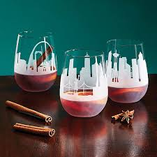 etched skyline wine glass