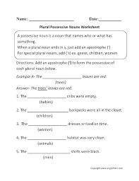 Possessive Pronouns Worksheets Singular Nouns Worksheets Possessive ...