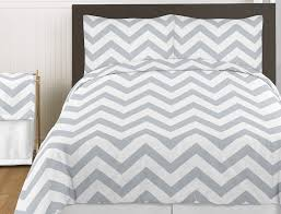 gray white large chevron print comforter teen girl zig zag king bedding set