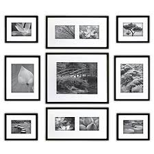 black picture frames wall. Gallery Perfect 9 Piece Black Wood Photo Frame Wall Kit. Includes: Frames, Hanging Template, Decorative Art Prints And Hardware Picture Frames M