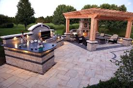 small outdoor grill area ideas l shaped with bar awesome picture