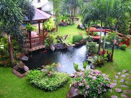 garden design with water fountain and small fish pond design ideas using wooden gazebo design ideas