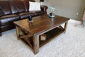 ... Brown Rectangle Lacquered Wood Rustic Coffee Table Plans With Storage  Shelf To Decorate Small ...