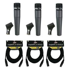 shure sm57 microphone egc031 adjustable stand and 25 xlr 3 shure sm57 bundle superflexgold 25 premium cables