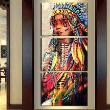 native american wall art native wall decor home decor tableau wall art pictures canvas 3 panel