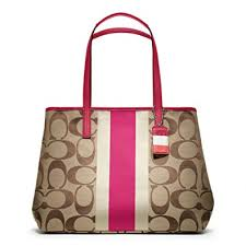 Coach 10054 Hamptons Signature Stripe Large Tote Handbag Khaki and Berry