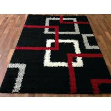 Black And White Rug Target Modern Black Squares Shaggy Area Red Gray