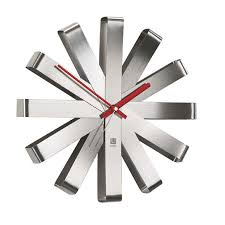 umbra ribbon stainless steel wall clock amazonca home  kitchen