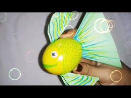 DIY Fish using egg shell ; craft for kids