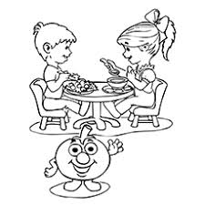 color page for kids. Fine For Tomato Coloring Page  Children Enjoying Dishes Intended Color For Kids H