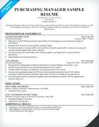 Sample Resume For Purchase Manager Procurement Resume Samples
