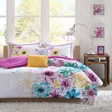 beautiful modern chic pink white purple teal aqua blue yellow girl comforter set
