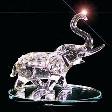 clear crystal elephant ornament high figurine small cut glass status animal trunk in the air crystal elephant figurine