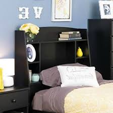 Kids black bedroom furniture Furniture Sets Details About Tall Bookcase Headboard Black Twin Shelves Storage Cubby Kids Bedroom Furniture Ebay Tall Bookcase Headboard Black Twin Shelves Storage Cubby Kids