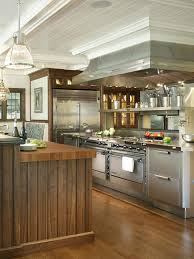 stainless steel commercial kitchen cabinets wooden laminated island breakfast bar brown wooden kitchen island exposed brick