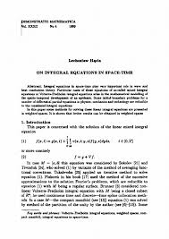 On Integral Equations In Space Time Demonstratio Mathematica