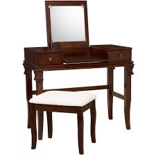linon angela vanity set including mirror and stool walnut brown com