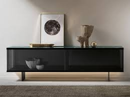 glass sideboard with sliding doors with integrated lighting east side sideboard by tonelli design