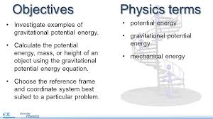 objectives investigate examples of gravitational potential energy