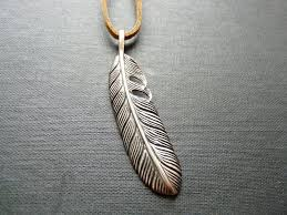 etched sterling silver eagle feather necklace