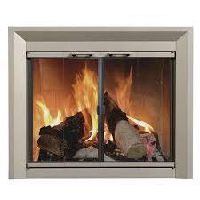 drake fireplace glass door nickel