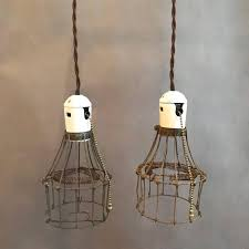 vintage antique industrial utility factory double cage steel brass porcelain pull chain light lights lighting lamp lamps chandelier pendant
