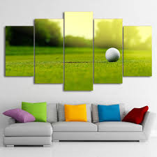 modular canvas wall art hd printed pictures framed 5 pieces golf course painting golf ball poster on golf wall art near me with modular canvas wall art hd printed pictures framed 5 pieces golf