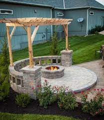 fire pit with built in seating covered